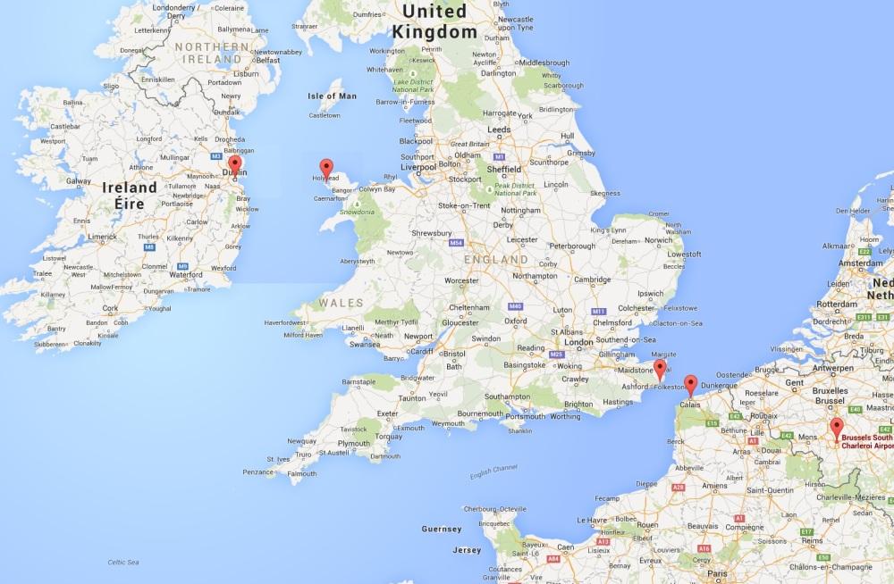 Ierland, Engeland & Wales - Dublin, Holyhead, Dover, Calais, Charleroi