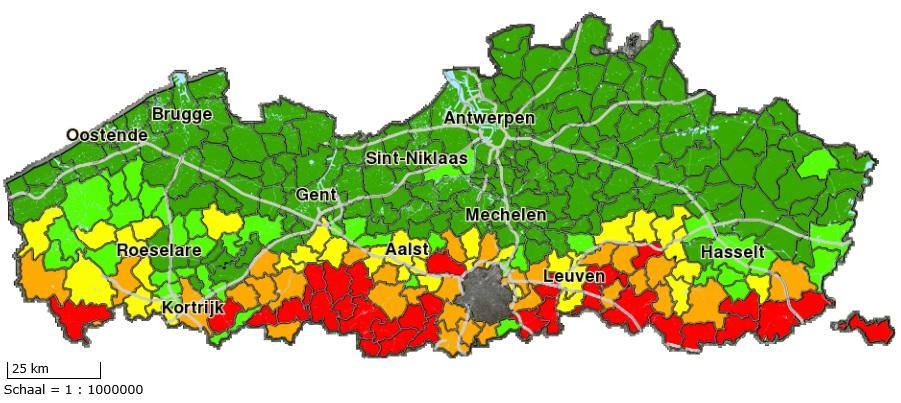 Erosiegevoeligheidskaart van alle Vlaamse gemeenten