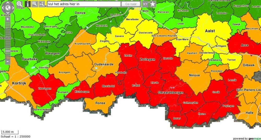 Erosiegevoeligheidskaart van de Vlaamse gemeenten
